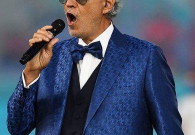 Andrea Bocelli wears Blackfin eyewear at EURO 2020 launch.