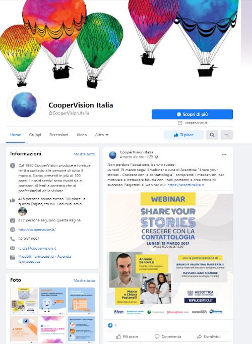 CooperVision Italia sbarca su Facebook con una pagina aperta e un gruppo chiuso per i professionisti.