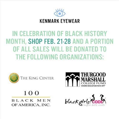 Kenmark Eyewear devolverà una parte dei ricavi dalle vendite a diverse organizzazioni in occasione del Black History Month.
